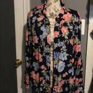 Woman's Navy Blue Flower Blouse